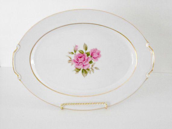Narumi Japan Sharon Pattern Pink Rose Platter by SarahLyallHome, $99.00