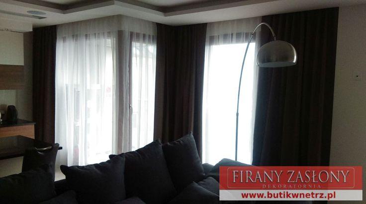#zasłony i #firanki nowoczesne dekoracje salonu w apartamencie