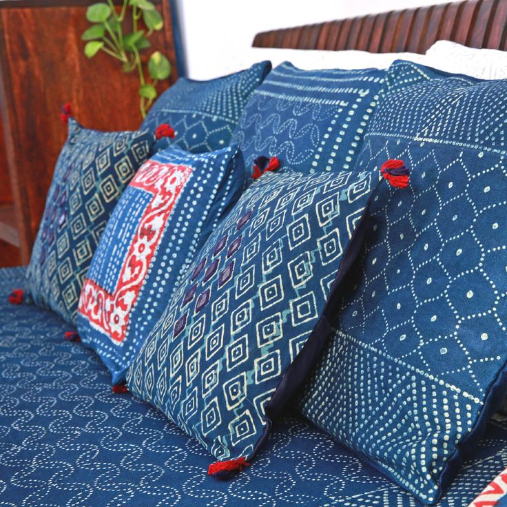 #Indigo #cushion #CushionCovers #Blue #Red #MirrorWork #Embroidery #Print #Home #Lifestyle #decor #bedlinen #accessories #Fabindia