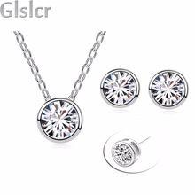 2016 nouvelle de noël de mode de mariée ensembles de bijoux de mariage usine En Gros importation A + zircon pendentif collier boucles d'oreilles 84428(China (Mainland))