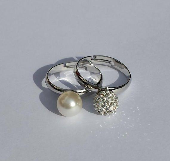 Coppia Anelli con perla bianca e perla pavè di BarbaraCreationsIT