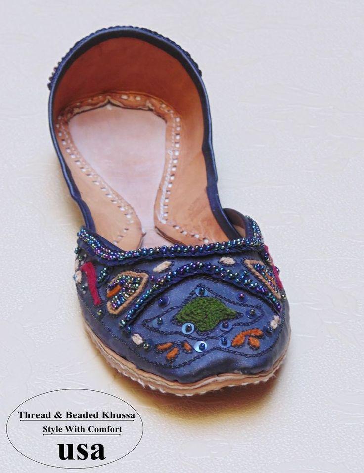 US 6-9 WOMEN HANDMADE CADET BLUE THREAD & BEADS WORK FLAT JOTI LEATHER KHUSSA #Handmade #FlatKhussa #Asyouwant
