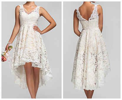 Asymmetric Lace Dress-Cute and I think it could be used outside of the wedding idea