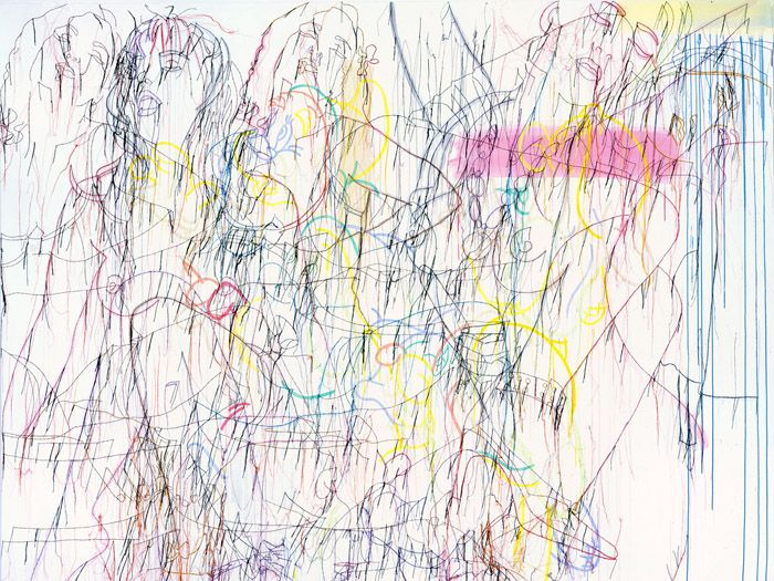 New York based artist Ghada Amer's picture 'Knotty but nice', copied from the Brooklyn Museum Feminist art archive.