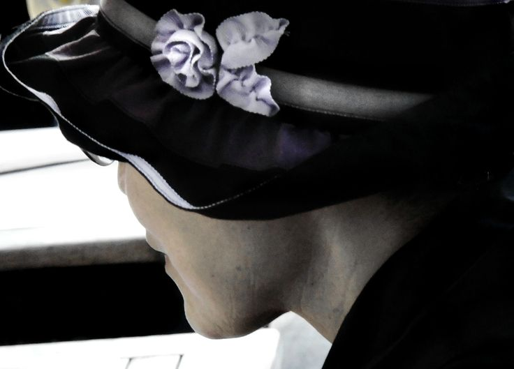 Woman with violet flower - null