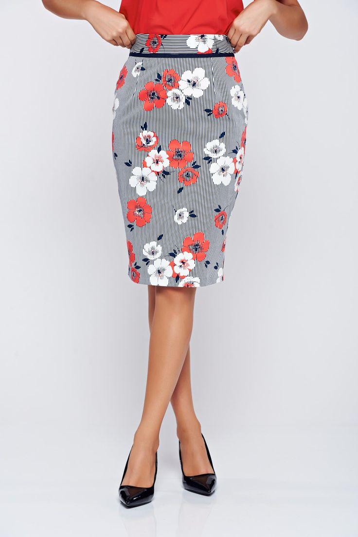 Comanda online, Fusta Fofy rosie midi din bumbac cu imprimeu floral. Articole masurate, calitate garantata!