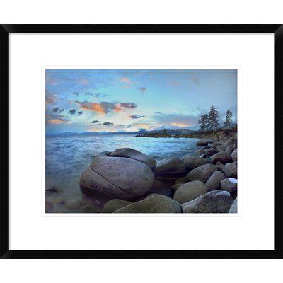 Global Gallery Rocky Shoreline along Hidden Beach, Lake Tahoe, Nevada by Tim Fitzharris Framed Photographic Print Size:
