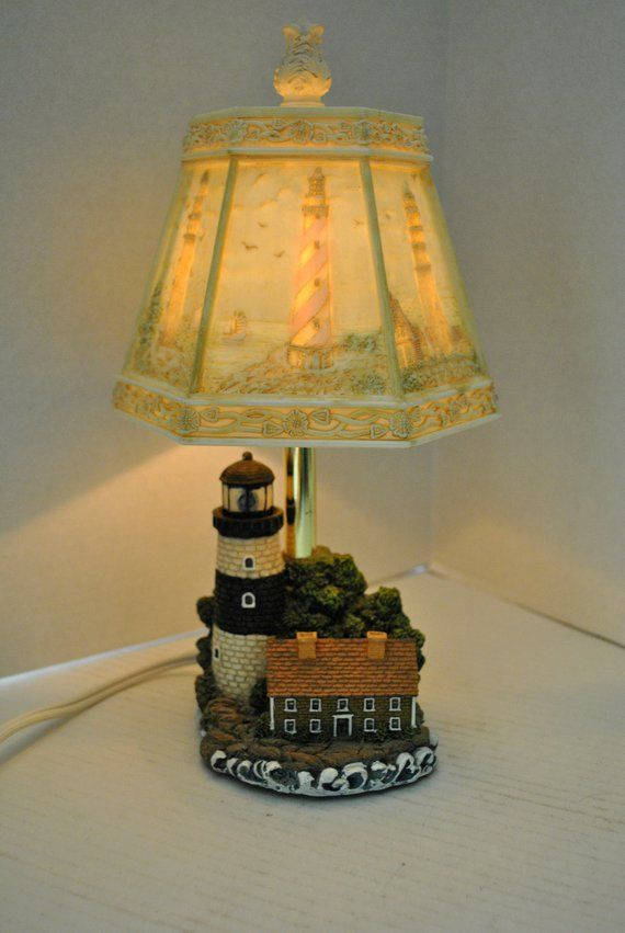 Vintage 3d Lighthouse Accent Lamp Reverse Painted Plastic Painting Lamp Shades Night Light Lamp Lamp
