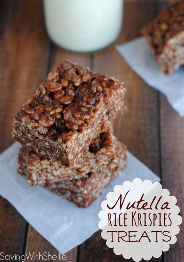 Drool worthy recipe for Nutella Rice Krispies Treats. Why didn't I think of this before?