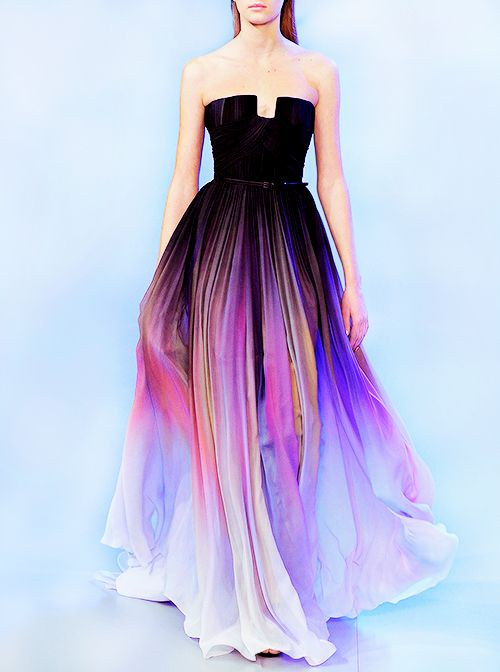 Tumblr (lunalovelight) Black fade into colour evening gown ...