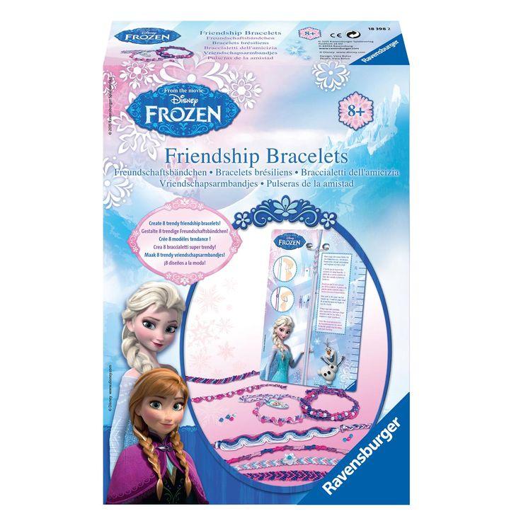 Maak 8 trendy vriendschapsarmbandjes en pep je outfit ermee op! Inhoud: 6 strengen draad, 1 hulpstuk voor het maken van de Braziliaanse armbandjes, 1 veiligheidsspeld, 2 sierkralen, 70 ronde kralen, 10 Frozen labels, 1 werkbeschrijving in kleur. Afmeting: verpakking 28 x 19 x 6 cm. - Disney Frozen Vriendschapsarmbandjes Maken