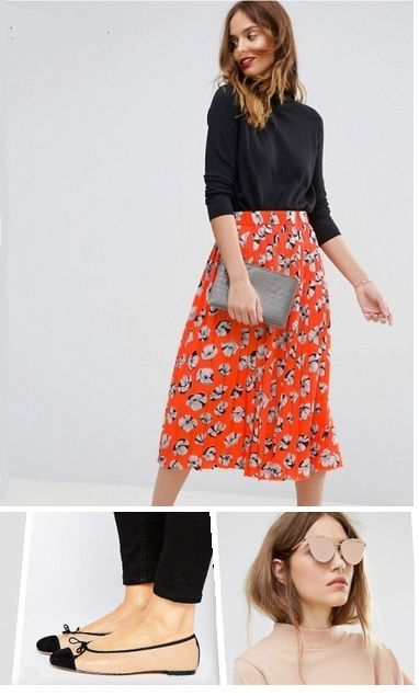 Black light sweater+orange printed midi skirt+nude and black ballerinas+nude sunglasses+grey clutch. Spring Dressy Casual Outfit 2017