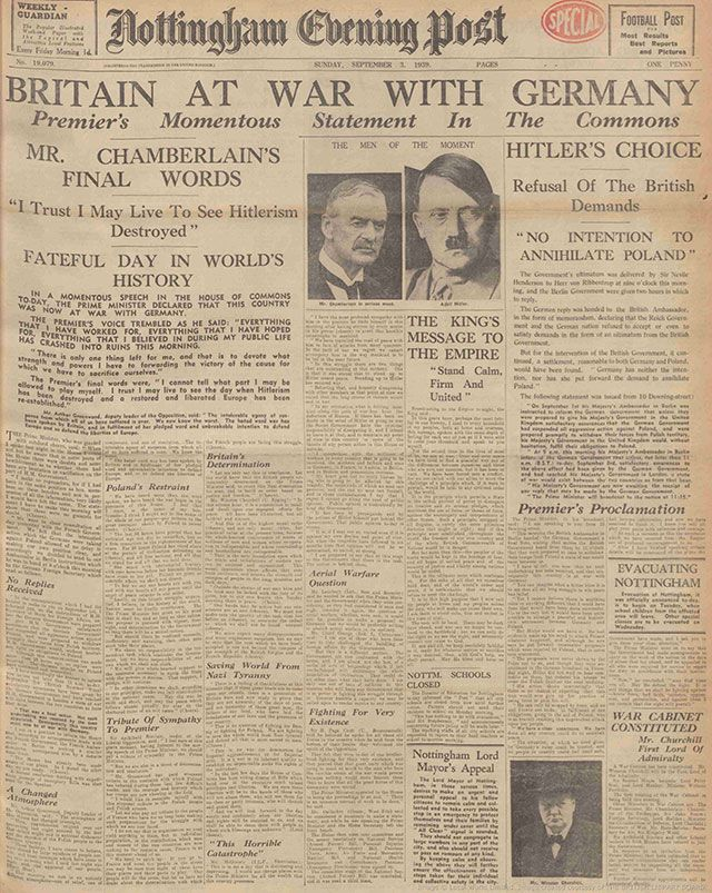Britain declared war on Nazi Germany on 3 September 1939. You can read the newspaper headlines from that day at The British Newspaper Archive.