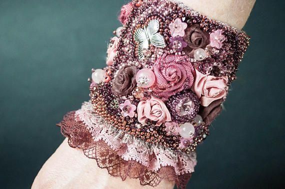 Beaded bridal cuff pink gypsy cuff boho beaded cuff Cuff