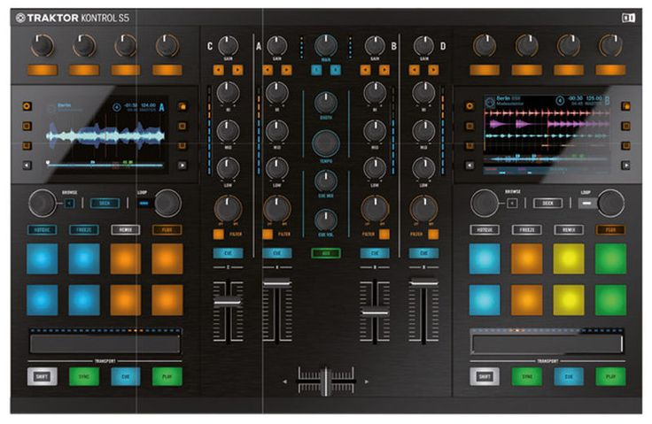 Native Instruments Traktor Kontrol S5 Portable 4-deck TRAKTOR controller and Audio Interface with core control over Stems and Remix Decks, 2 bright, full-color thomann displays reveal key software views and pop-up panels, Touch-sensitive knobs and buttons for intuitive control over TRAKTOR software, Touch strips provide tactile control over track position, pitch bend, and more