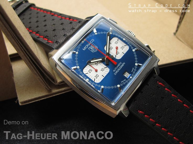 TagHeuer MONACO on 22mm Black Semi-perforated Texture Calf Pilot Watch Strap in Breitling Style [CA2220IWRE078]