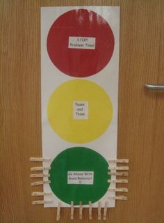 Traffic light management tool. All students start on green at the start of the day. They can move to yellow/orange if they need to 'stop and think about their choices' and to red if they continue to make bad choices. Red usually comes with a bad consequence such as loss of play time. Students can move back to green if behaviour improves. Whole class reward usually follows if students stay on green (entry into class raffle etc).