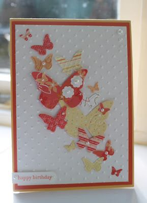 handmade card ... spray of yellow and red punched butterflies ... little pearls ... lovely ... Stampin' Up!