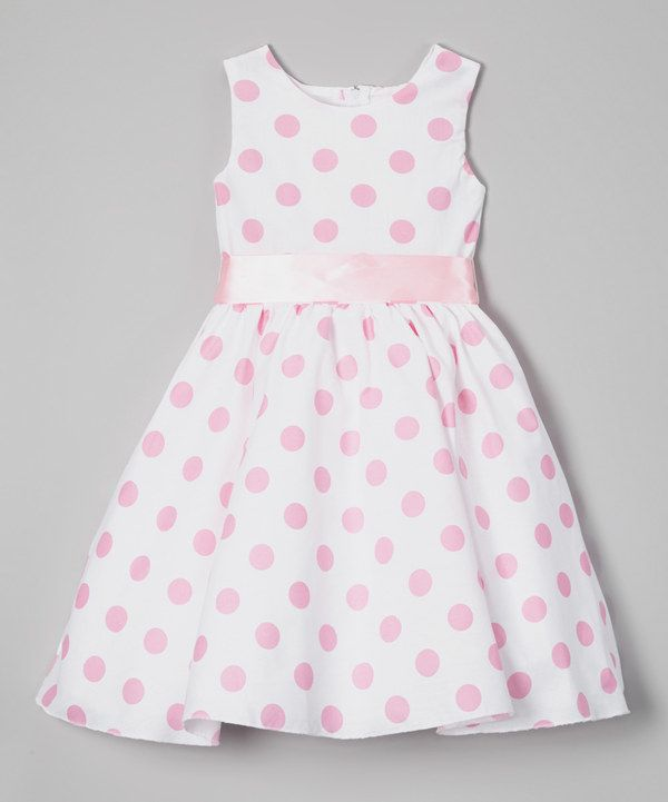 Cinderella Couture Baby Girls Pink White Polka Dot Belted: Look At This Light Pink Polka Dot A-Line Dress