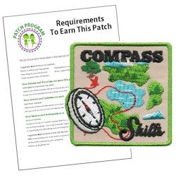 Compass Skills Fun Patch and Patch Program. Go letterboxing or hiking or just teach your Girl Scouts how to use a compass. This compass fun patch is a perfect reward for learning new compass skills. Download our suggested requirements. Available at MakingFriends.com