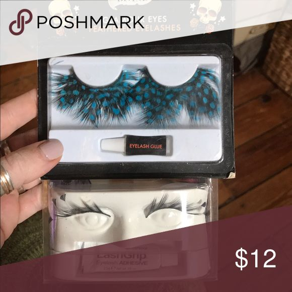 Fun fake eyelashes New in box! Hoarded for some Halloween or Costume party and never used! Comes with adhesive! One is black and blue dotted feather and the other is a 'dark angel' black lash with little tips at outer ends. Super fun! Makeup False Eyelashes