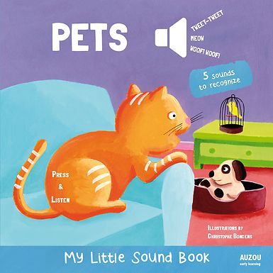 Discover the sounds of 5 of most beloved pets!  What sound does this pet make? Children will have fun finding out by pressing the buttons in this sound book! The book introduces first facts about five favorite pets: a dog, a cat, a guinea pig, a parrot, and a canary. The bright, colorful photographs are engaging and entertaining. A great noisy early learning board book!