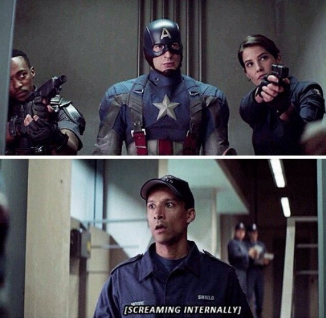 reacting as well as any mere mortal could in Captain America's presence