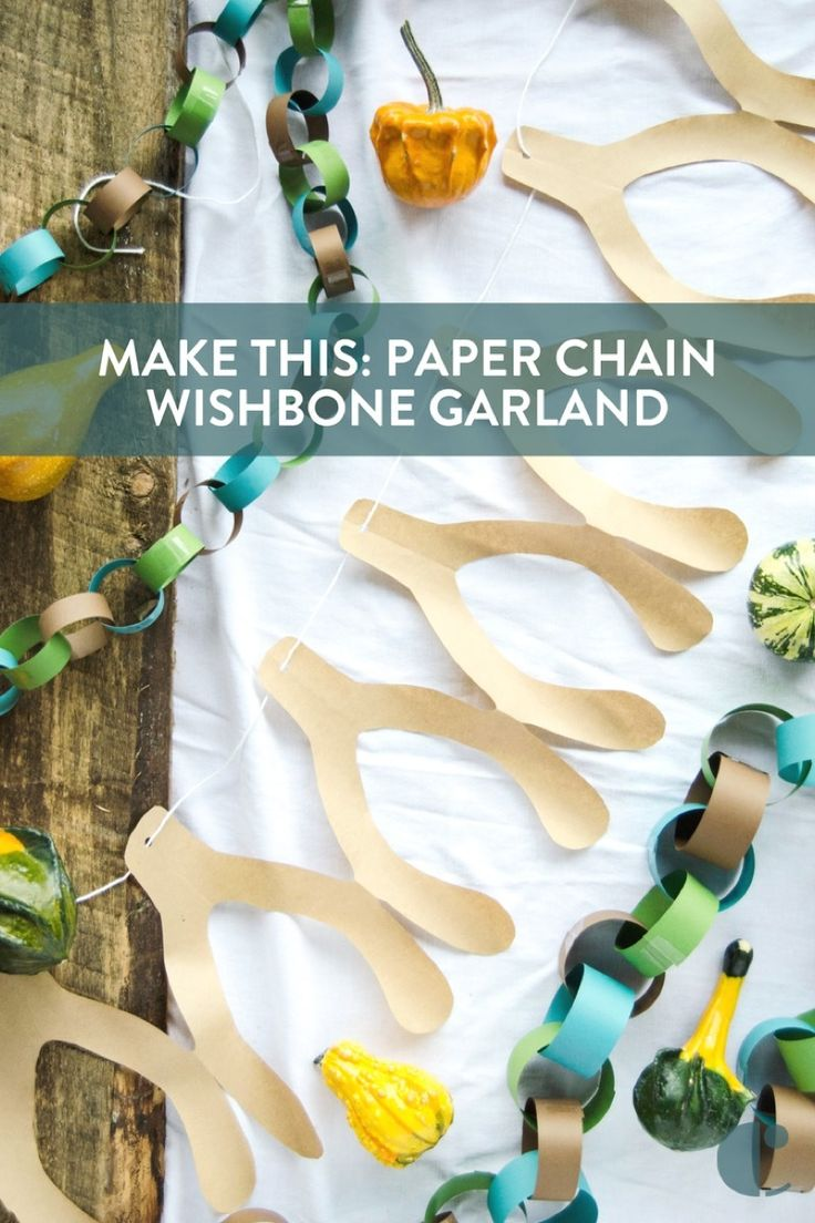 Thanksgiving decoration that is basically free: Make this paper chain wishbone garland (with template)