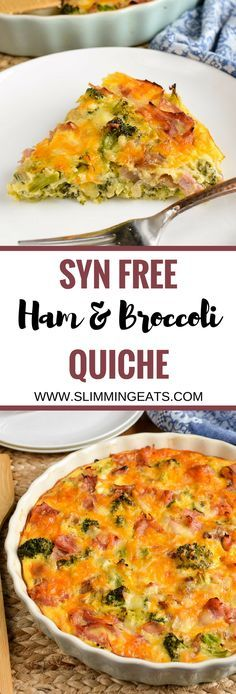 Slimming Eats Syn Free Crustless Ham and Broccoli Quiche - gluten free, Slimming World and Weight Watchers friendly