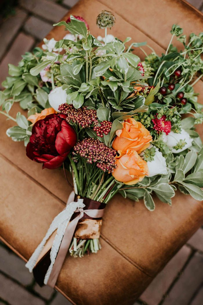 Vibrant, beautiful  fall wedding bouquet | Image by Gaetz Photography
