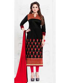 Rustic Black And Red Cotton Salwar Suit.