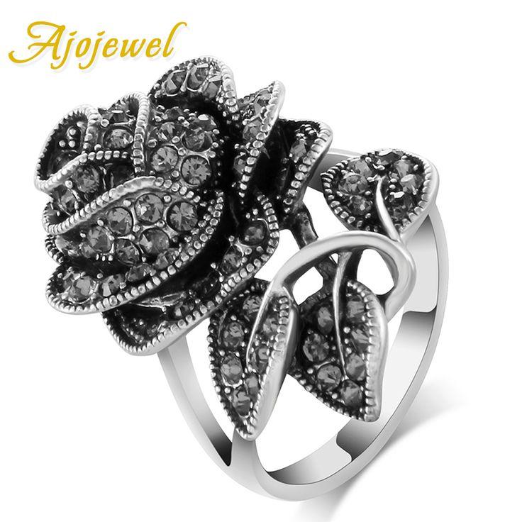 Ajojewel 2016 Vintage Jewelry Antique Silver Plated Black Crystal Rhinestone Big Rose Flower Rings For Women Romantic