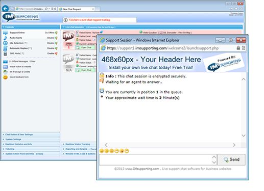 Advanced cloud based Live chat software with queueing.   www.imlivehelp.com