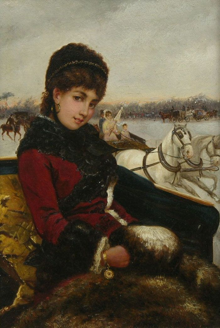 Lady In A Sleigh by Giuseppe de Nittis (Italian painter 1846-1884)