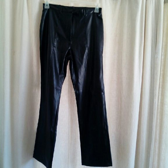 Black faux Leather Pants Rave 4 Real Rave for Real (R4R) black faux leather pants. Size 9 measures approx 28 waste and 30 inch inseam. Leg opening width is approximately 9 inches  In excellent used condition ready for the next party Rave for Real Pants Straight Leg