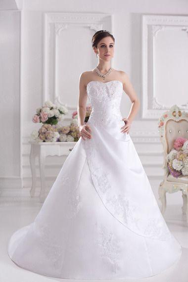 Ball Gown Sweetheart Satin Court Train Wedding Dress