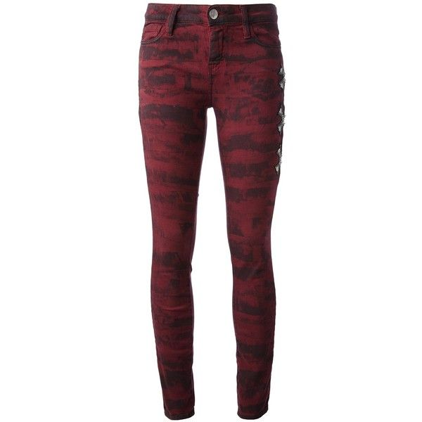 Each X Other Printed Jean ($179) ❤ liked on Polyvore featuring jeans, pants, bottoms, pantalones, calças, red, zipper jeans, zipper skinny jeans, burgundy jeans e burgundy skinny jeans