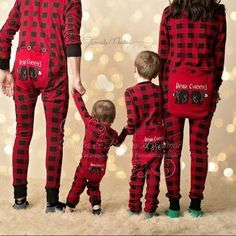 Perfect matching family pajamas for standout Holiday photos. www.rufflesandbowties.boutique Lazy One Youth & Adult Buffalo Plaid BEAR CHEEKS Flapjack Matching Christmas Pj's #christmasfamilyphotos #familyphotos #christmaspjs #pajamafamily #blackandred #nightbeforechristmas