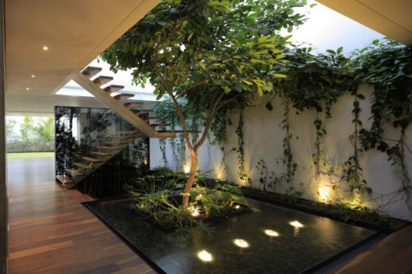 Modern Home With Indoor Garden Also Wooden Laminate Floor Also Stair And Pond Also Trees Garden And Glass Stair Railing, Breathtaking Indoor Garden, Vertical Garden and Green Wall for Your Living Space