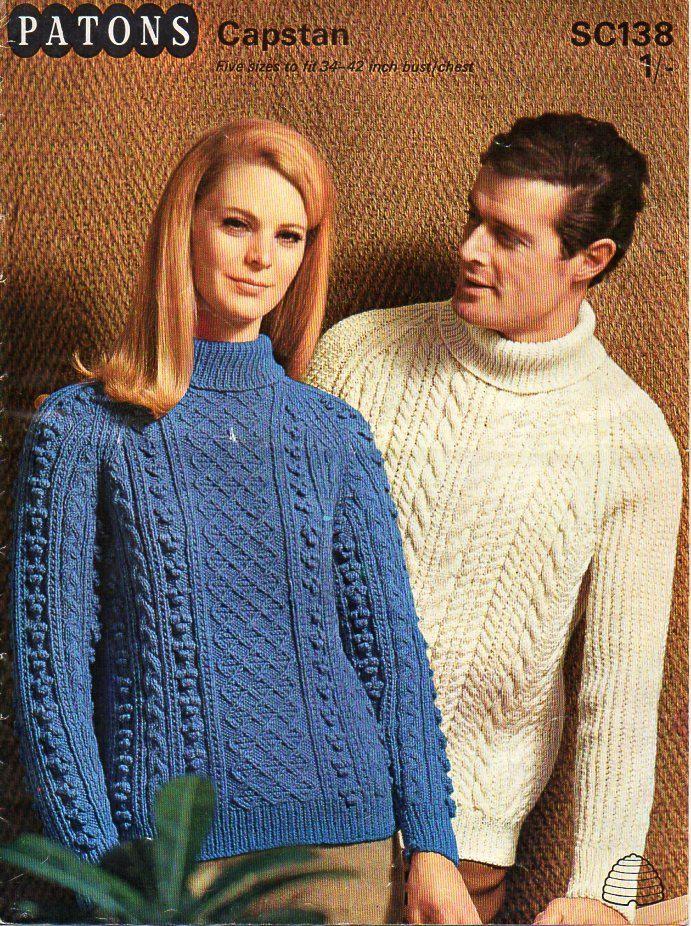 womens mens aran knitting pattern PDF download aran sweater aran jumper polo…