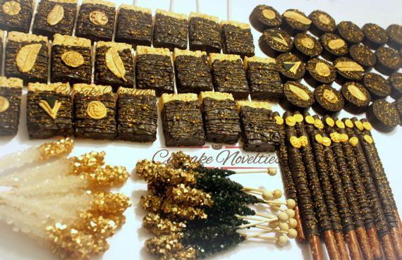 Buy Online! Delicious custom Chocolate dipped Rice Krispie treats in black & gold, great for a 1920s Party, 1920s Wedding, Great Gatsby Party, Art Deco Party, Vintage 1920s themed party dessert or favors, treats for an Art Deco/Gatsby fan, a Gatsby themed Birthday party or Baby Shower, or any event needing a glamorous touch of tasty desserts!