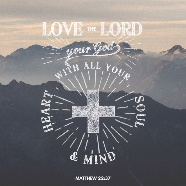 """Jesus replied, """"'You must love the LORD your God with all your heart, all your soul, and all your mind.' Matthew 22:37"""