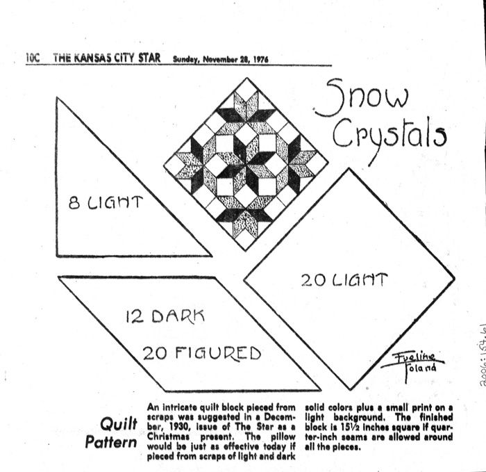 Kansas City Star Snow Crystals 1930 & 1976