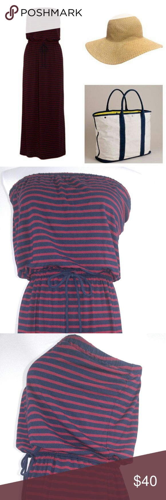 J Crew Amie Knit Maxidress in Skinny Stripe Navy A sleek, strapless silhouette made modern in see-worthy stripes. Styled with a drawstring waist and a body-skimming drape, the floor-sweeping length makes it the perfect canvas for dressing up or down. Rayon/spandex. Elastic waistband. Straight skirt. Import. Machine wash.   Materials:                  -95% Modal Rayane   -5% Spandex        j crew Dresses Maxi