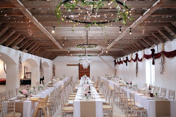The Victorian steading at Aswanley decorated for a very stylish rustic wedding.