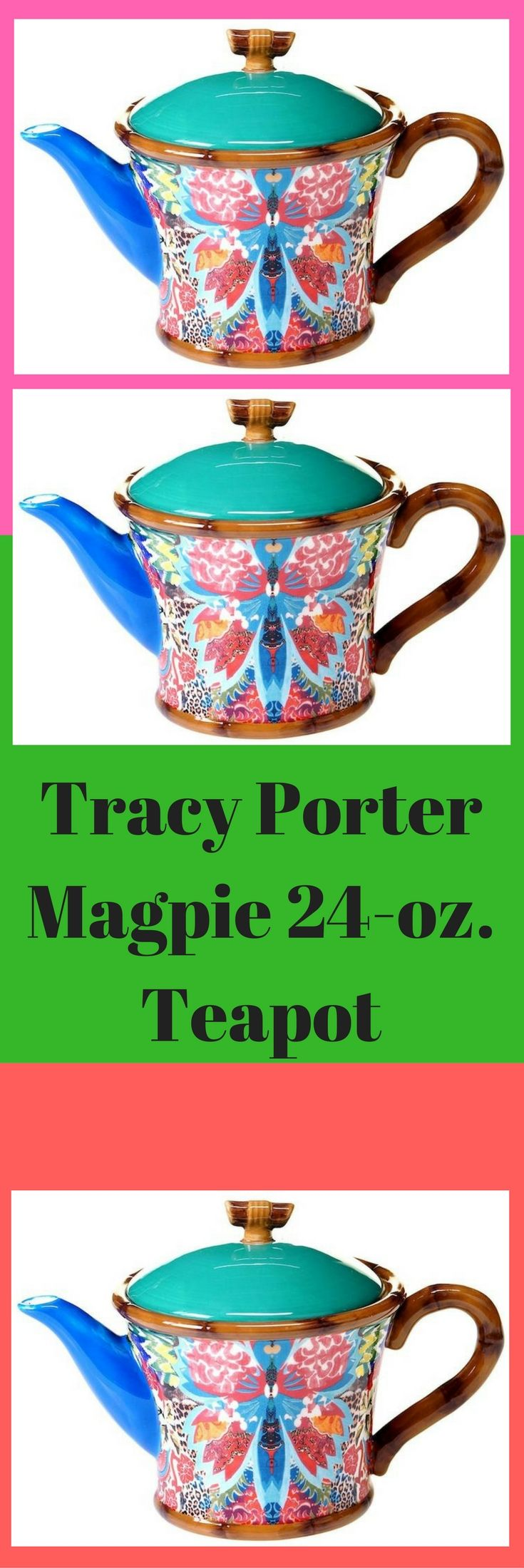 """Liven up your serveware collection with this bright and eclectic Tracy Porter serving set. Vibrant floral pattern Bamboo-inspired edges & handle Top knob makes it easy to lift lid Ceramic Dishwasher & microwave safe 6""""H x 9.25""""W x 5.5""""D 24-oz. capacity Model no. 44119 Size: Tea Pot.#ad #teapot"""