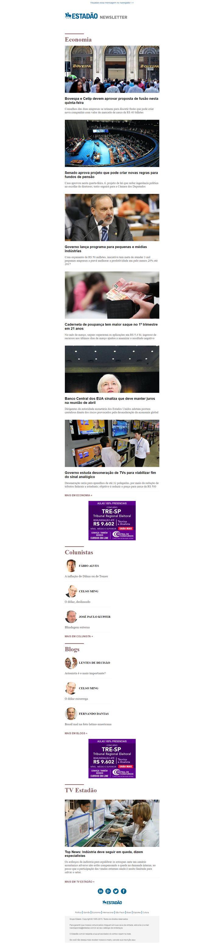 Newsletter Estadão Economia