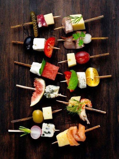 party finger food: vegetables, meat, fruits