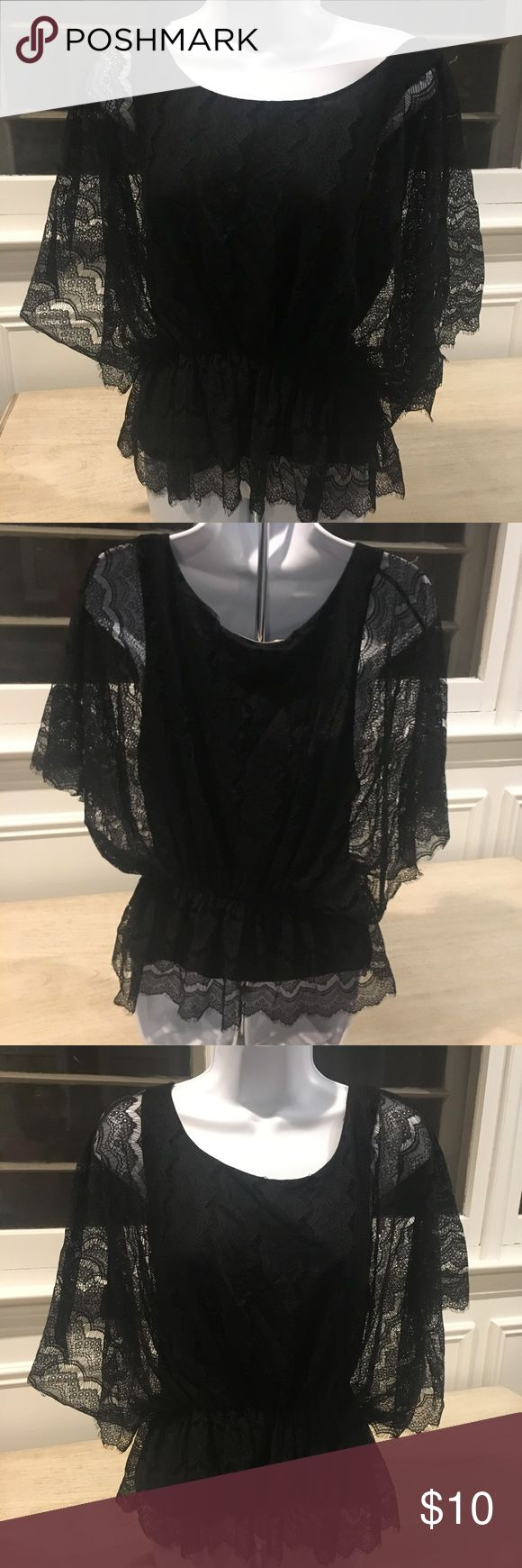 Old Navy Black Lace Top OLD NAVY BATWING DOLMAN CINCHED WAIST LINED BLACK FLORAL LACE BLOUSE TOP. SUPER CUTE WITH JEANS. Old Navy Tops Tunics