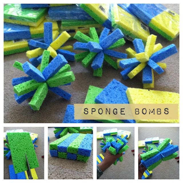 Sponge bombs: make them easily with sponges and yarn... use them in place of water balloons for an earth friendly, reusable alternative to water balloons. Use outdoors for target practice, water transferring or water painting work!